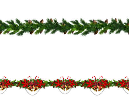 Christmas decoration collection with treess holly poinsettia Vector seamless