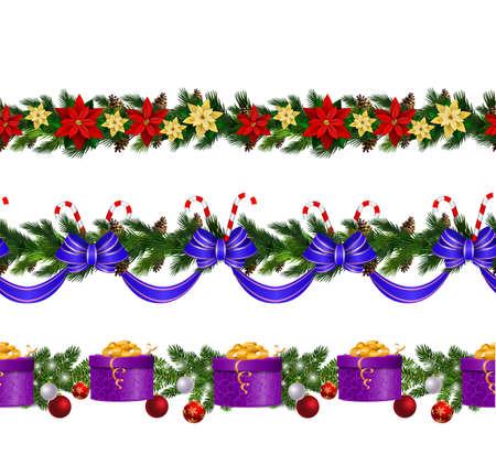 Vector Christmas Border collection isolates Векторная Иллюстрация