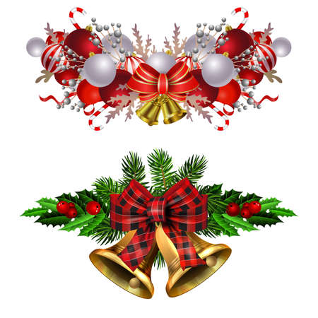 Christmas decorations set with fir tree golden jingle bells and decorative elements. Vector illustration Banco de Imagens - 135557355