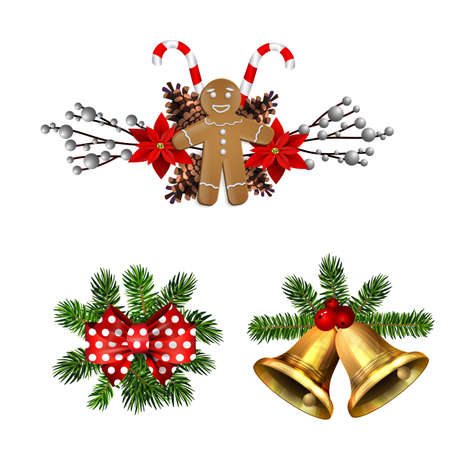 Christmas decoration set with poinsettia and gingerbread man isolated vector 矢量图像