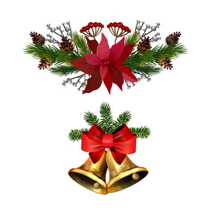 Christmas decorations set with fir tree golden jingle bells and decorative elements. Vector illustration Banco de Imagens - 135558713