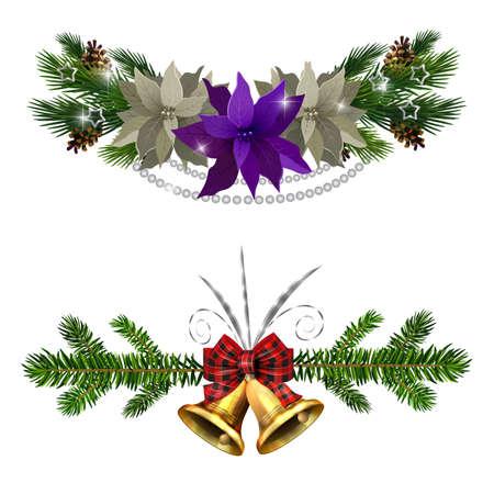 Christmas decorations set with fir tree golden jingle bells and decorative elements. Vector illustration Vektorové ilustrace