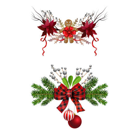 Christmas decorations set with fir tree golden jingle bells and decorative elements. Vector illustration Banco de Imagens - 135766826