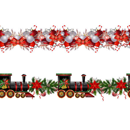 Little Christmas train seamless pattern set decorated red ribbon for Christmas decoration can be used Vector Vector Illustration