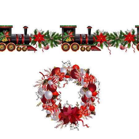 Little Christmas train seamless pattern decorated red ribbon Vector 向量圖像
