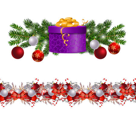 Christmas decorations seamless border set with fir tree and decorative elements and gift boxes. Vector illustration