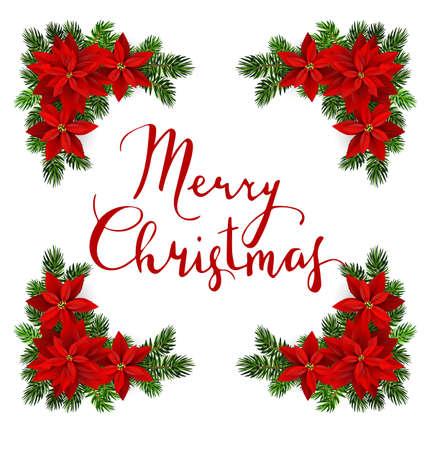 Vector. Christmas decoration: evergreens frame isolated Иллюстрация