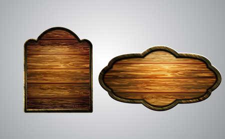 Vector realistic illustration of wooden signboard Illustration