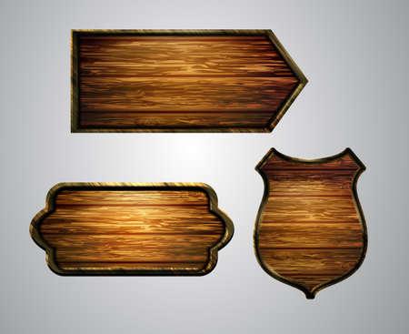 Vector realistic illustration of wooden signboard Vettoriali