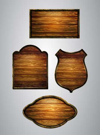 Vector realistic illustration of wooden signboard Ilustração