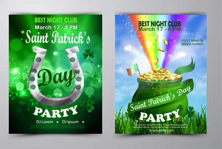 St. Patricks Day poster set Vector illustration