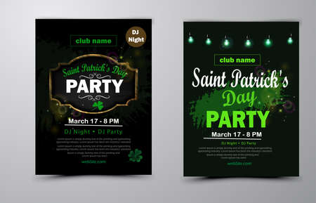 St. Patricks Day poster collection Vector illustration background for party Ilustracja