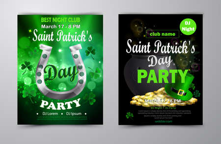 St. Patrick s Day poster set Vector illustration Ilustração