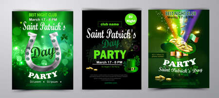 St. Patrick s Day poster set Vector illustration