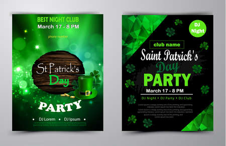 Irish holiday Saint Patrick s Day. Party poster, disco night placard