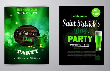 Irish holiday Saint Patrick s Day. Party poster, disco night placard