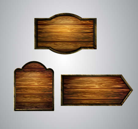 Vector realistic illustration of wooden signboard 向量圖像