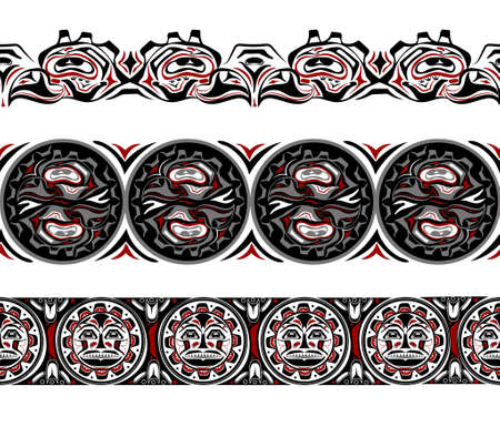 abstract background native north american set Ilustracja