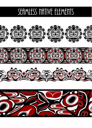abstract background native north american set 矢量图像