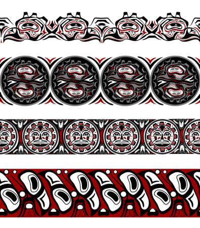 abstract background native north american set Illustration
