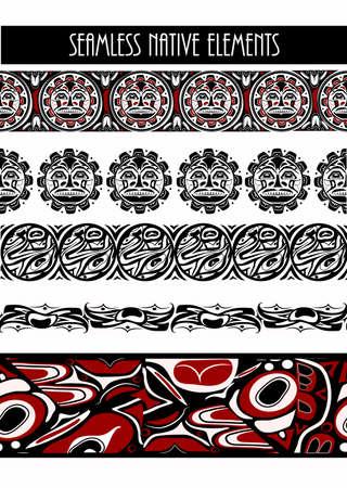 Vector illustration abstract native north american seamless pattern border set