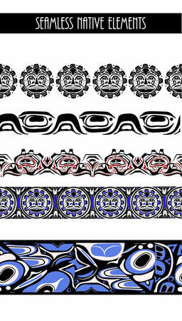 Vector illustration abstract native north american seamless pattern border set
