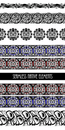 abstract background native north american set  イラスト・ベクター素材