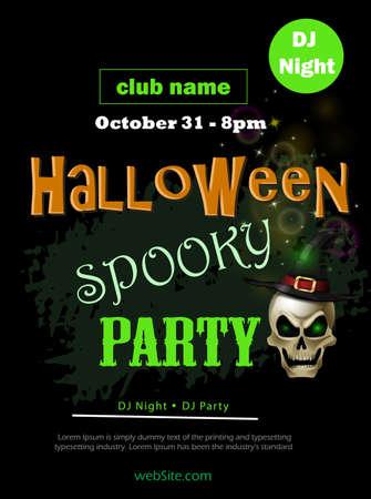 Halloween party flyer on black vector