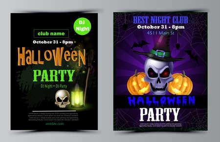 Halloween party flyer set vector