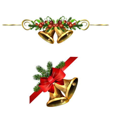 Christmas Holly brunches decoration vector Stock Illustratie