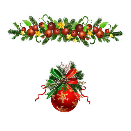 Christmas Holly brunches decoration vector Çizim