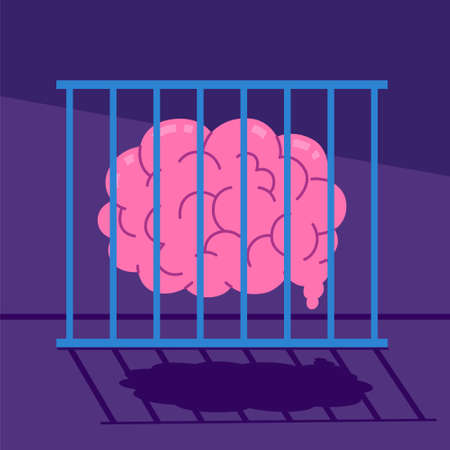 Illustration of Caged Brain or Knowledge