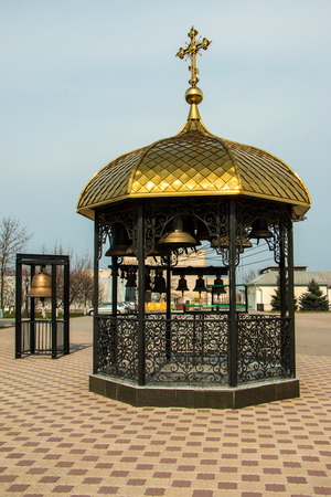 Bell tower near the church, place of worship, located in Ukraine, the city Zaporozhye