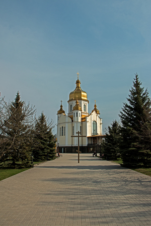 Church with a dome, place of worship in a residential area of the city Zaporozhye, Ukraine