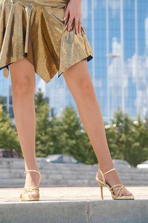 attractive women legs in fishnet