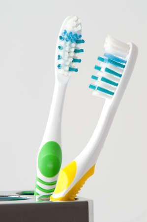 two colorful toothbrush isolated on white Stock Photo - 5732368