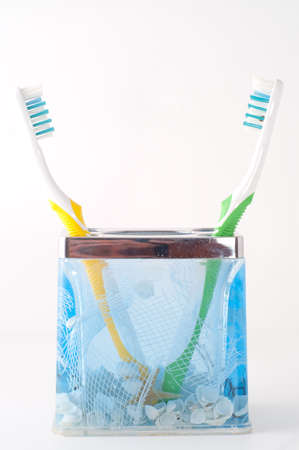 two colorful toothbrush isolated on white Standard-Bild