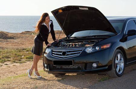 car broke down, repairs transport Stock Photo