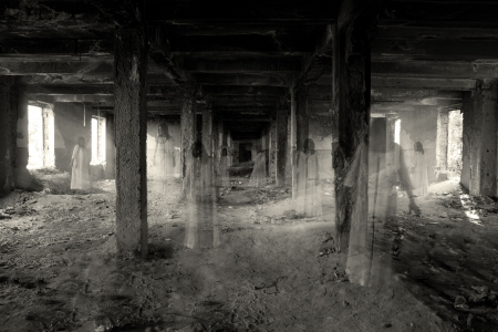 haunted house: ghosts in the abandoned dark building