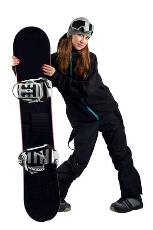 Snowboarder in a goggles holding his board photo