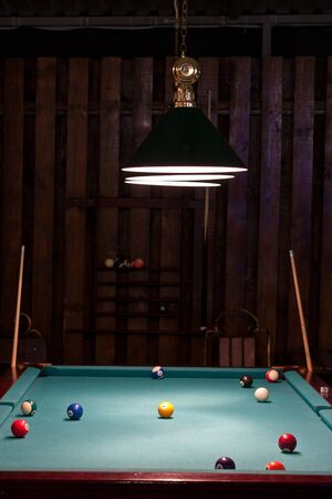 billiards room: Balls and cue in the American billiards and pool