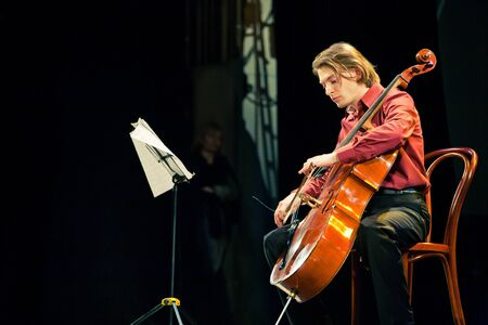 SEVASTOPOL, UKRAINE - 19 April: The group performed Beethoven Duo at the festival South Window. Fedor Elesin - cello, April 19, 2011 in Sevastopol, Ukraine. Stock Photo - 9433759
