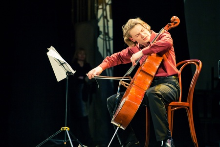 SEVASTOPOL, UKRAINE - 19 April: The group performed Beethoven Duo at the festival South Window. Fedor Elesin - cello, April 19, 2011 in Sevastopol, Ukraine.