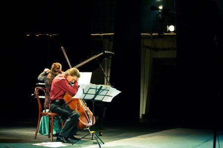 SEVASTOPOL, UKRAINE - 19 April: The group performed Beethoven Duo at the festival South Window. Fedor Elesin - cello, Alina Kabanova - piano, April 19, 2011 in Sevastopol, Ukraine.