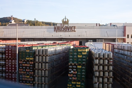 Central facade of the Brewery Krusovice Stock Photo - 10820318