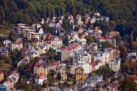 karlovy: top view of Karlovy Vary in the Czech Republic