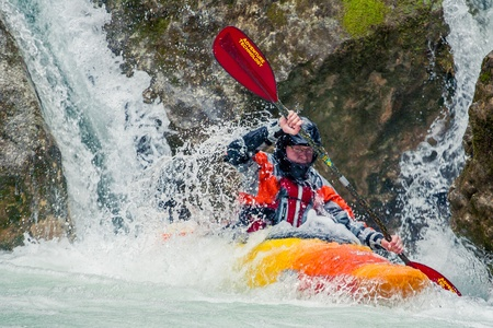 extreme danger: SEVASTOPOL, UKRAINE - 23 March: Extreme amateur canoe trip on the wild waters of the river Editorial