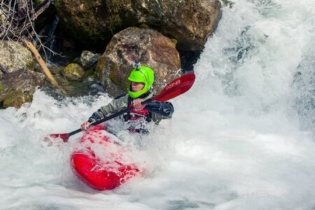 SEVASTOPOL, UKRAINE - 23 March: Extreme amateur canoe trip on the wild waters of the river