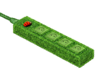 Green euro socket covered with grass and ladybird Stock Photo - 13180753