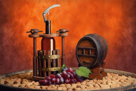 winepress: winepress with a bottle and keg in still life